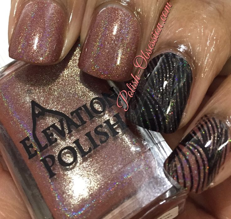 Elevation Polish nail polish, Elevation Polish Yeti Loves Pumpkin Spice swatch, Brown nail polish, holo nail polish, Stamping nail art, BP-21 stamping plate, Born Pretty Store, Polish Obsession, marijonails, nail polish blogger