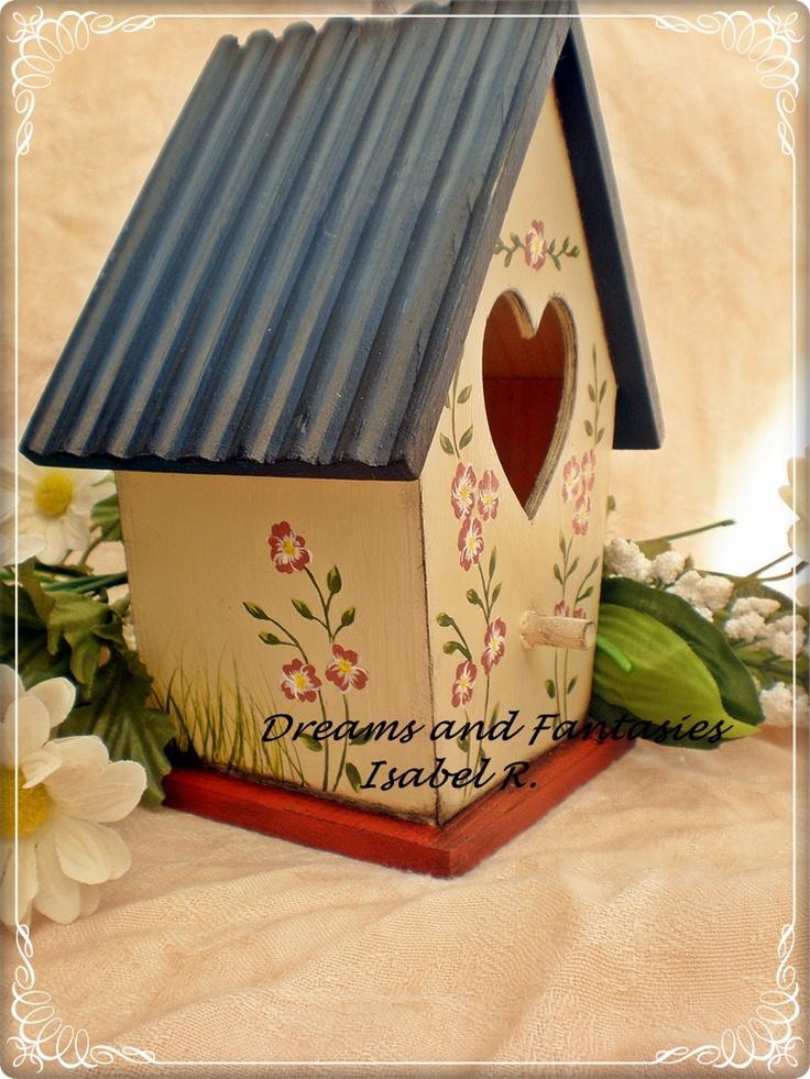 Casita de pajaros pintada a mano casitas de - Casita para pajaros ...