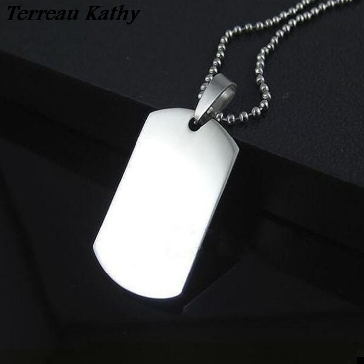 Terreau Kathy 2016 New Fashion Top Quality Titanium Stainless Steel Soldier Card Dog Tag Women/Men Pendant Necklace