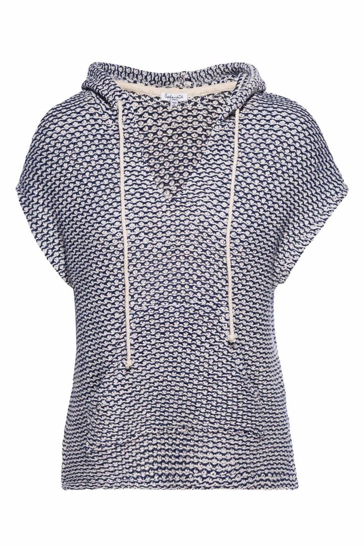 Splendid Prairie Loose Knit in Cobalt features a side slit hi-lo hem that has a hoodie tie corded and is a pullover. Pairs well with white denim shorts sandals and a hat. Loose Knit Cobalt by Splendid. Clothing - Sweaters Nevada