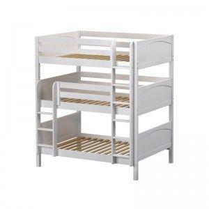 TRIPLEX WP : Triple Bunk W/ Straight Ladder : Full : White : Panel