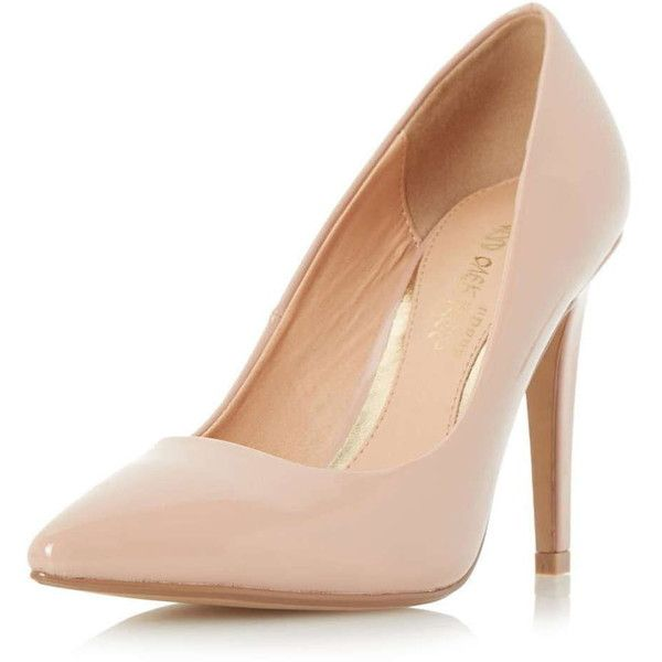 Dorothy Perkins **Head Over Heels 'Addyson' Nude Court Shoes (£48) ❤ liked on Polyvore featuring shoes, pumps, heels, white, white stilettos, white stiletto pumps, nude shoes, pointed-toe pumps and high heels stilettos