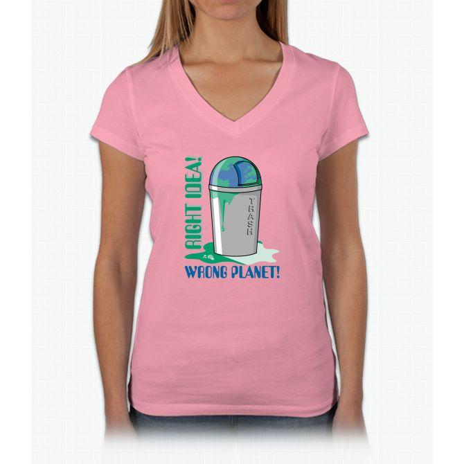Right Idea, Wrong Planet Womens V-Neck T-Shirt