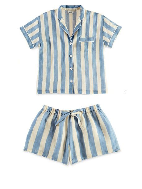 These appear to be nifty summer pyjamas because they are STRIPED and look comfy too.