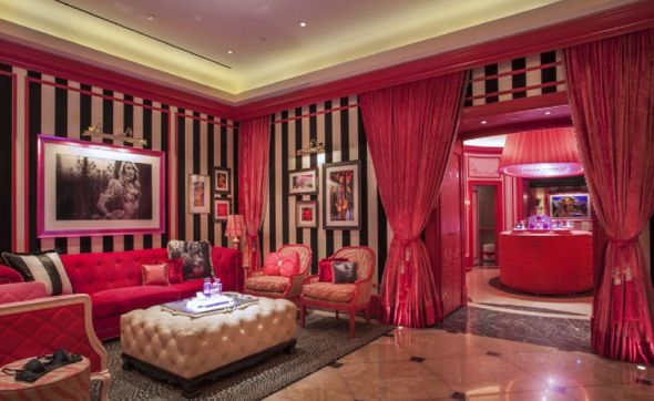 Jaw Dropping . . .MY dream living room!!! Black & white stripes, hot pink velvet drapes, tufted baroque furniture!! Huuuge black & white photos. Awww I'm working on it!