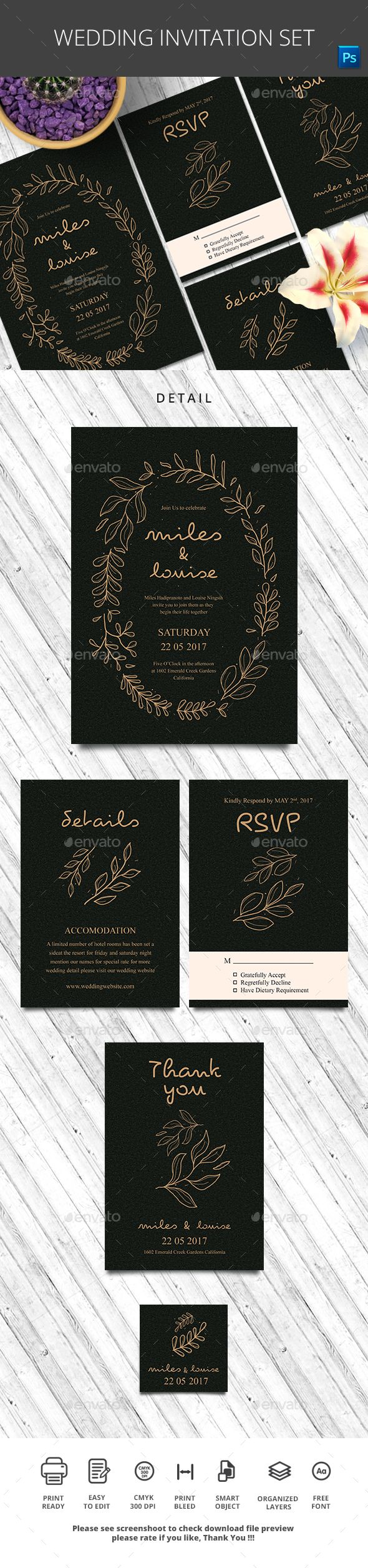 free online printable wedding thank you cards%0A  Wedding Invitation Set  Wedding Greeting Cards Download here   https   graphicriver