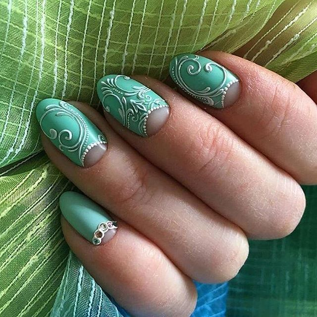 Beautiful patterns on nails, Embossed nails, Gel polish on the nails oval, Moon nails 2017, Moon on the nails, Original moon nails, Original nails, Oval nails