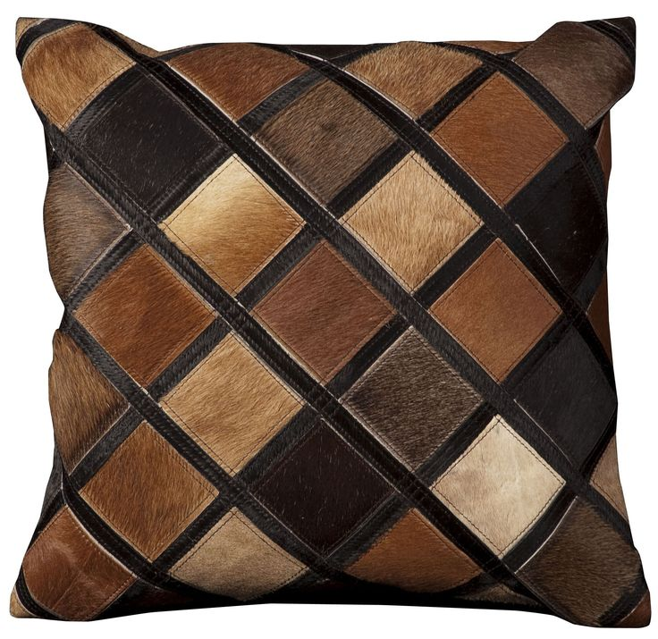 Natural Leather and Hide Diamonds Natural Hair on Hide Throw Pillow
