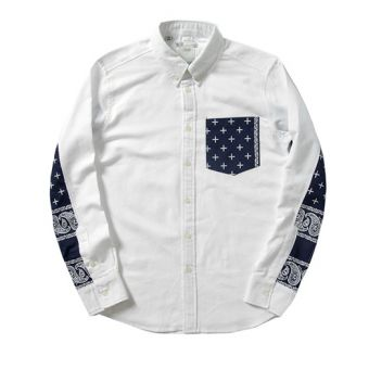 You've gotta love the patchwork on this one! Awesome! White Visvim Paisley Plus Mix Button Up Oxford Shirt #Visvim #longsleeves #buttonupshirt #streetwear #streetfashion #urbanwear