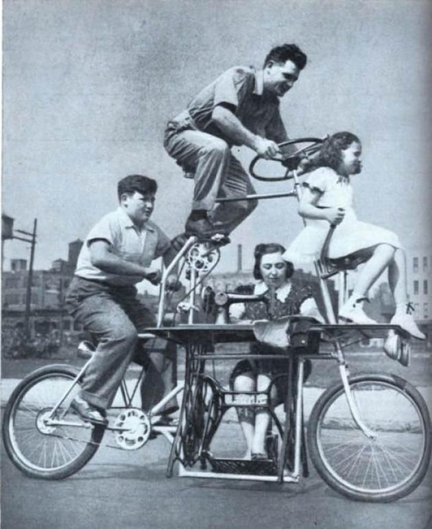 A bike for the entire family... that also has a built in sewing machine for Mom! (USA, 1939)