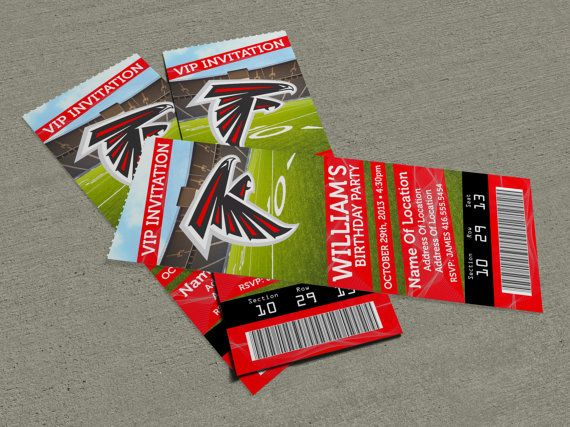 """Atlanta Falcons Birthday Party/Event Ticket Invitation (2.5"""" x 7"""")"""