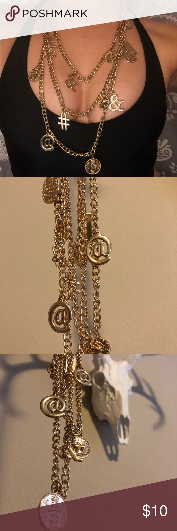 Gold Chain #️⃣ Necklace Three layered thick gold chain necklace with chunky social media symbols (@,&,#) and coins. Great for going out or dressing casual! Forever 21 Jewelry Necklaces
