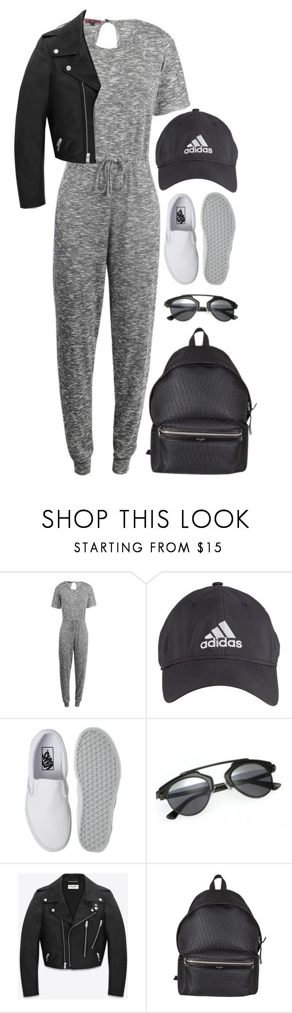 """Sporty"" by luvsassyselfie ❤ liked on Polyvore featuring adidas, Vans, Yves Saint Laurent, black and gray"