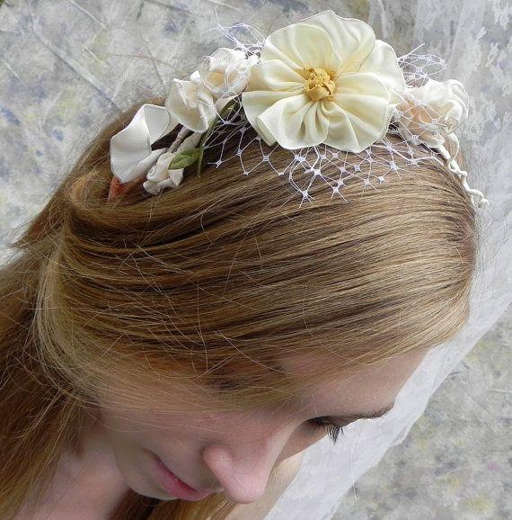 PALE MOON WINTER PANSY  Bridal Headband by RibbonAndBeadworks