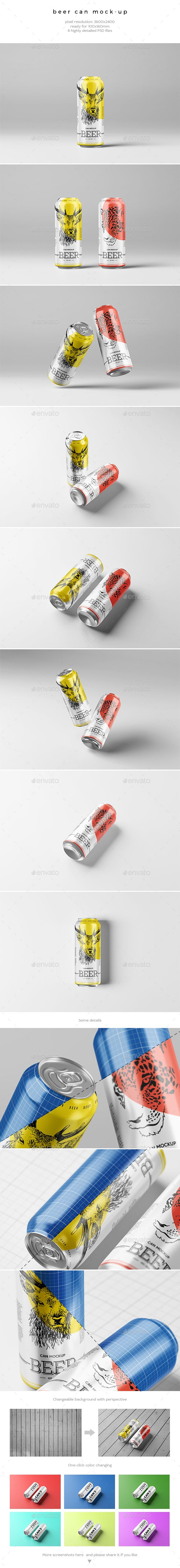 Beer Can MockUp — Photoshop PSD #jerrycan #drink • Download ➝ https://graphicriver.net/item/beer-can-mockup/20356303?ref=pxcr