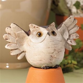 Elated Owl Figurine at Linda Anderson