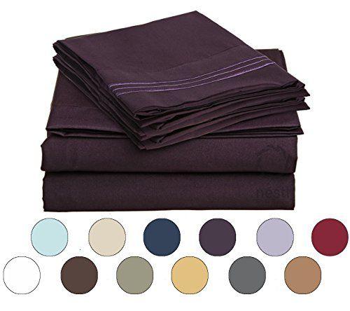 Bed Sheet Bedding Set, 100% Soft Brushed Microfiber with Deep Pocket Fitted Sheet - KING - PURPLE EGGPLANT - 1800 Luxury Bedding Collection, Hypoallergenic & Wrinkle Free Bedroom Linen Set Nestl Bedding http://www.amazon.com/dp/B00VANO2BO/ref=cm_sw_r_pi_dp_75wawb0HHD738