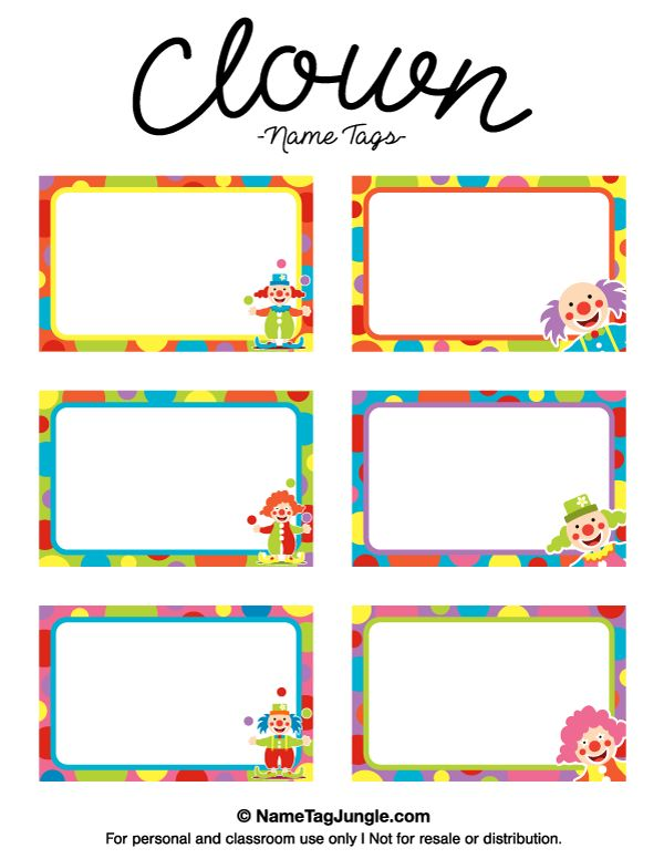 name badge label template - free printable clown name tags the template can also be