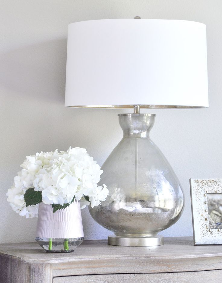 Master Bedroom – mercury glass lamp and white hydrangeas