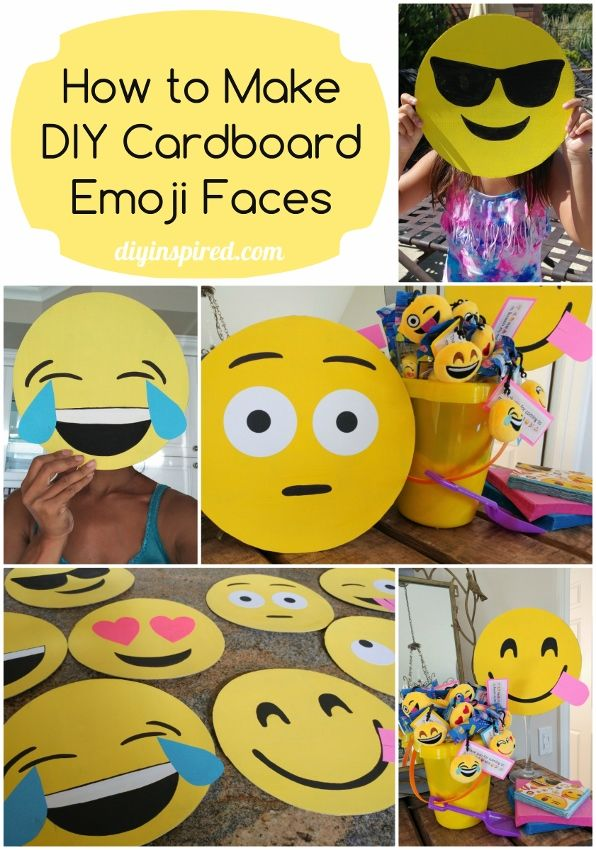 How to Make Cardboard Emoji Faces - DIY Inspired These are great for party decor, photo booth props, or Halloween masks.