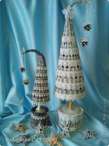Поделка изделие Новый год Декупаж Плетение Новогодние хлопоты   Бумага газетная Трубочки бумажные фото 6