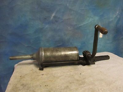 Vintage Antique Wall Mount Sausage Stuffer Processer Cast Iron Hand Crank