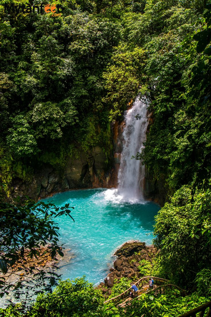Rio Celeste waterfall: the sky blue river in Costa Rica. REad more about visiting this magical place here: http://mytanfeet.com/activities/tips-visiting-rio-celeste/