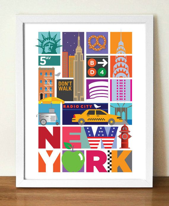 New York City Poster Retro Poster 11.7 x by visualphilosophy, $24.99