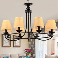 Moderne led lustre nuances tissu vintage noir fer e14 lustre lampe pendientes kroonluchter lampadario moderno éclairage à la maison(China (Mainland))