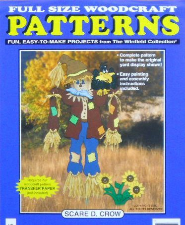 This festive scarecrow is a snap to make using our full-size pattern, 1/2 exterior grade plywood and a jig saw. (appox. 56 tall)    Dont forget to