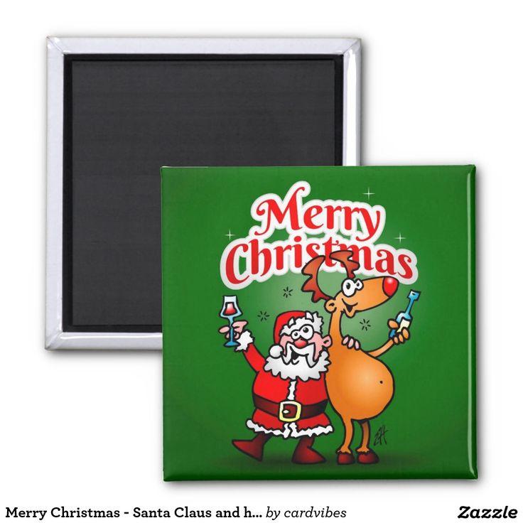 Merry Christmas - Santa Claus and his Reindeer 2 Inch Square Magnet. #Christmas #Santa #Reindeer #SantaClaus #Zazzle #Cardvibes #Tekenaartje #SOLD