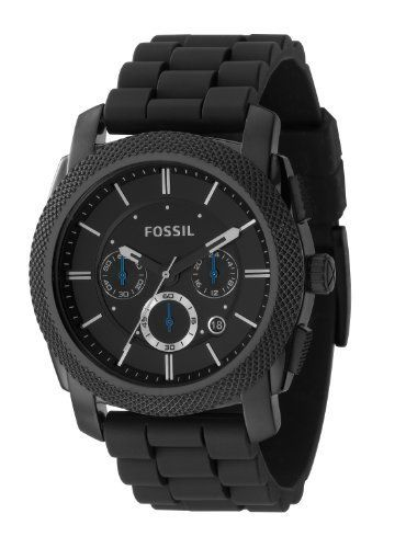 Fossil FS4487 Mens Black Dial Black silicone Watch Fossil. $114.95. Black Silicone Strap. Analogue Display. Round Gold Plated Stainless Steel Case. Water Resistance : 10 ATM / 100 meters / 330 feet