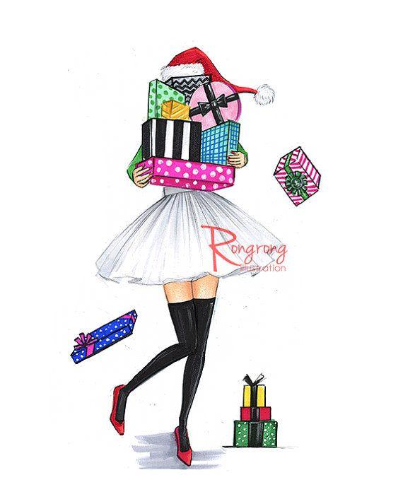 Christmas wall artChristmas print Holiday by RongrongIllustration