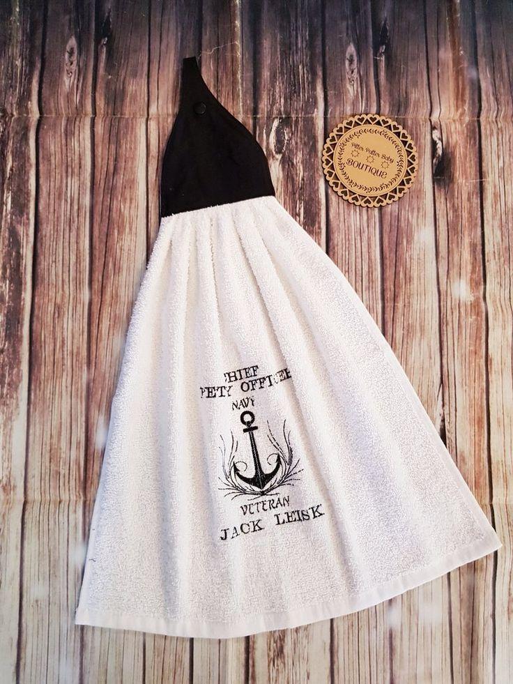 Personalised Anchor, Navy Hand Towel, Towel Set, Personalised Towels