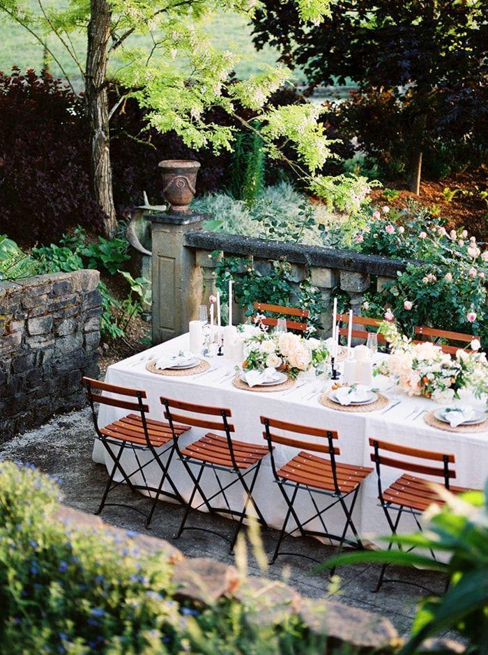 Inviting outdoor wedding reception