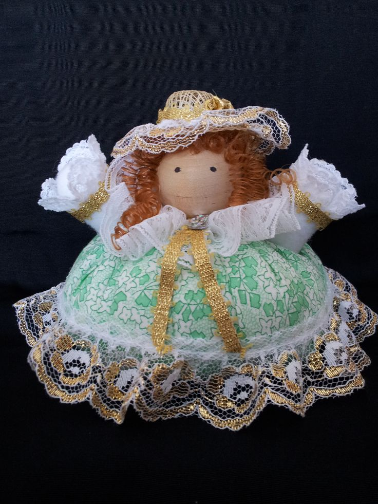 The Irish Belle. Collectable Pin Cushion Doll. Material: Cotton & Lace. $25.00CAD + S/H if applicable. $0.00 Tax. Please contact Nola here at: http://www.facebook.com/elegantcreationsbynola for purchase