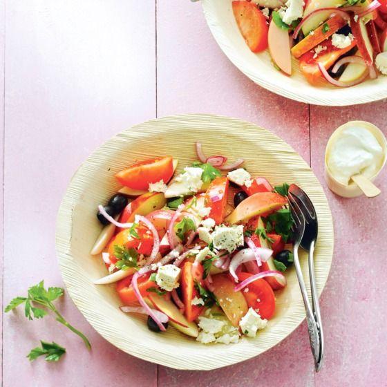 Zomersalade met nectarine en olijven. #JumboSupermarkten #recept #salade