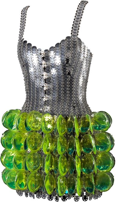 Paco Rabanne, 1997, Dress in transparent rhodoid and water.