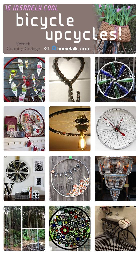 That old bike just sitting in the shed? Yeah, that'll be PERFECT for some DIY recycled decor! And I just love that chain hook idea--too cute.