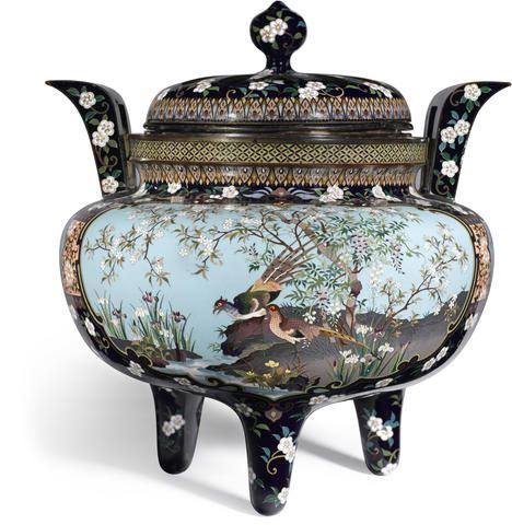 A cloisonné enamel tripod incense burner (koro) and cover Meiji period (late 19th century)