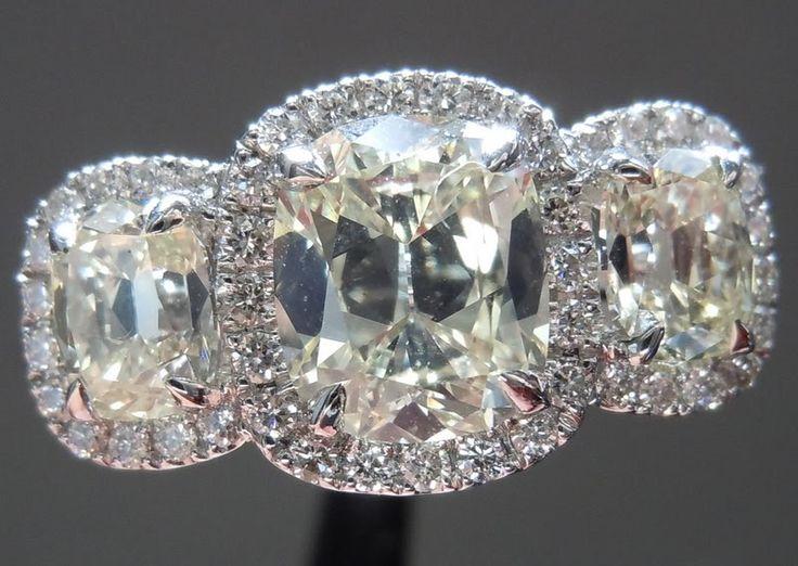 Three Stone Ring | Daussi Cushion Diamond Ring | Diamond Halo Ring
