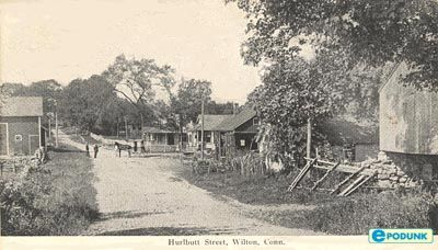 Wilton postcard post card - Hurlbutt Street, Wilton, CT