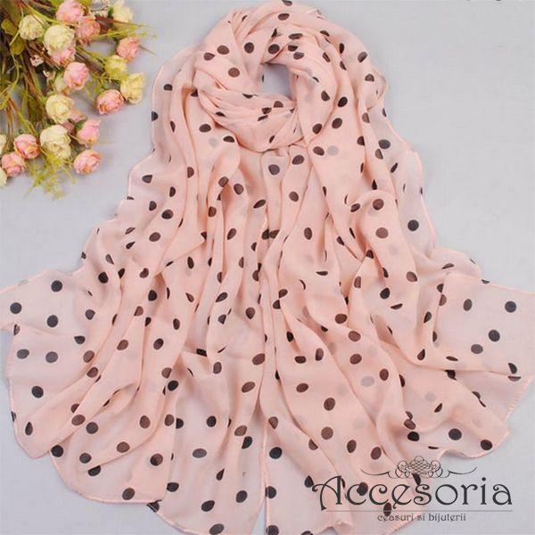 Esarfa eleganta, decorata cu buline, disponibila pe roz si bluemarin! www.accesoria-store.ro