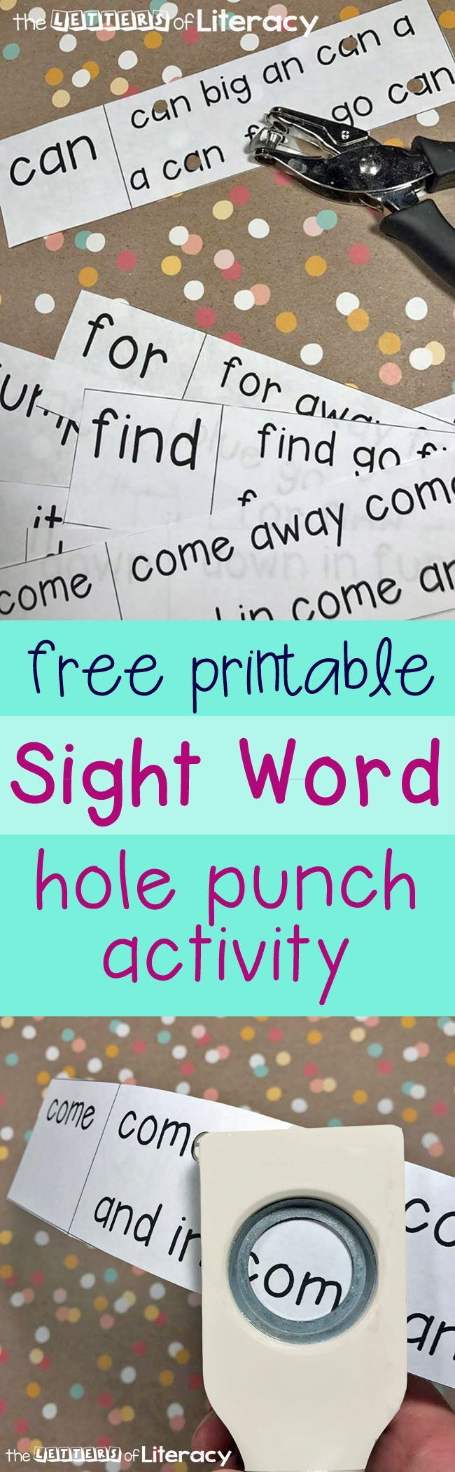 Hole punching has become a favorite among our sight word activities! I started with Dolche Pre Primer words and created this Sight Word Matching Hole Punch.