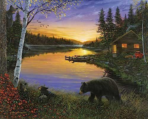 sunset at the cabin   Cabin on the Pond-Sunset Poster by Ervin Molnar at Barewalls.com