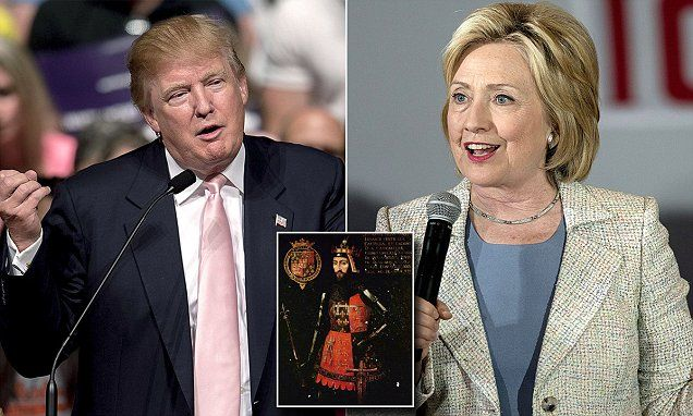 Both Donald Trump and Hillary Clinton are the direct descendants of 14th century Duke of Lancaster John of Gaunt and his third wife Katherine Swynford, according to the ancestry site MyHeritage.com.
