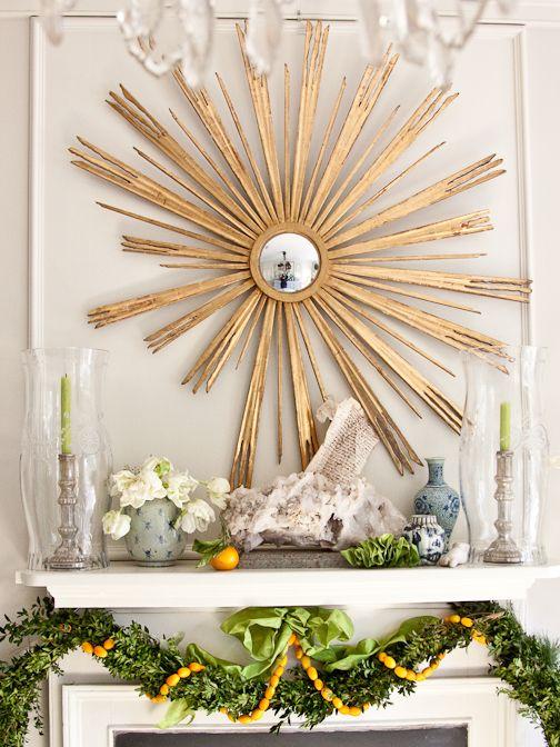 : Mantels, Decor Ideas, Sunburst Mirror, Starburst Mirror, Holidays Decor, Garlands, Chinoiserie Chic, Christmas Mantles, Blue And White