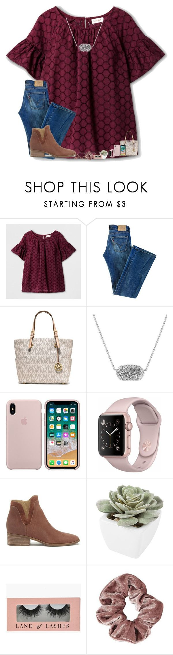 """•i miss you•"" by mackenzielacy814 on Polyvore featuring Levi's, MICHAEL Michael Kors, Kendra Scott, Lucky Brand, Abigail Ahern, Tweezerman and mrlloves"