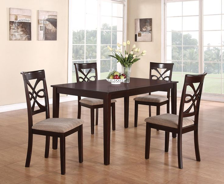 5 Pc Cara Collection Dark Cherry Finish Wood Dining Table Set With Fabric  Padded Seats