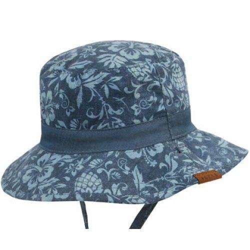Baby Boys Bucket Hat - Malibu Navy hawaiian theme fabric 78c7abc23117